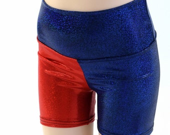 """Kids Harlequin High Waist Shorts with 2.5"""" inseam  Childrens Unisex Sizes 2T 3T 4T and 5-12  Harley Quinn Cosplay (Red on RIGHT hip) 153918"""