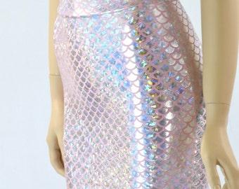 Silver & Pink Mermaid Scale Bodycon Mini Skirt 151602