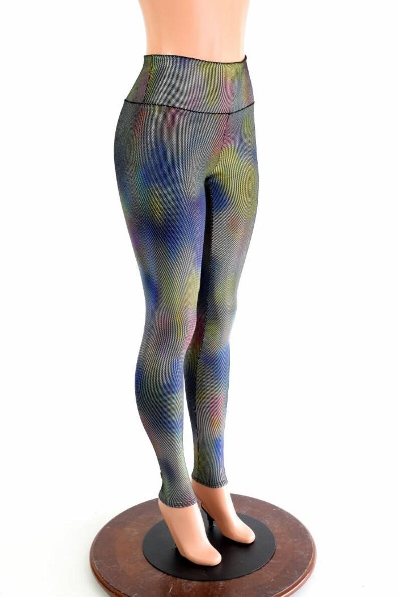 17ad07a05f Velvet Oil Spill Holographic Stretchy High Waist Leggings   Etsy