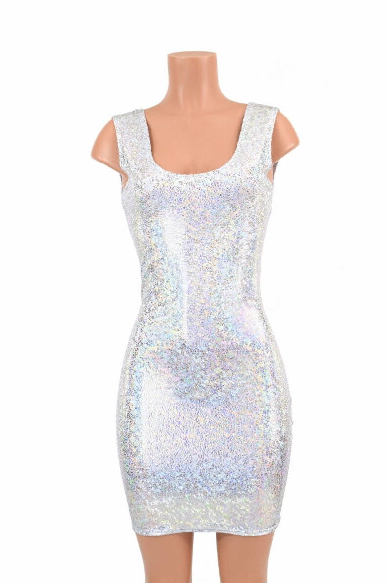 Silver on White Shattered Glass Sparkling Holographic Bodycon Tank Dress E7802