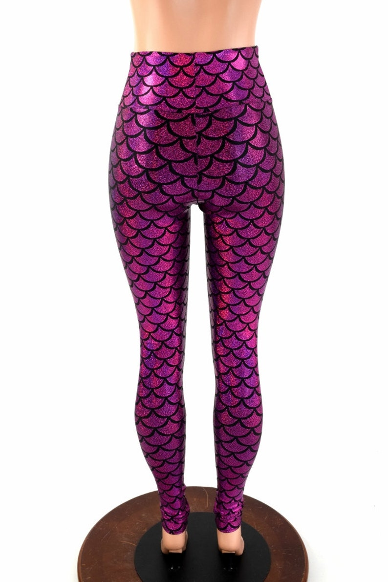 d9a565cf4f9b4 Fuchsia Dragon Scale High Waist Mermaid Leggings 154269 | Etsy
