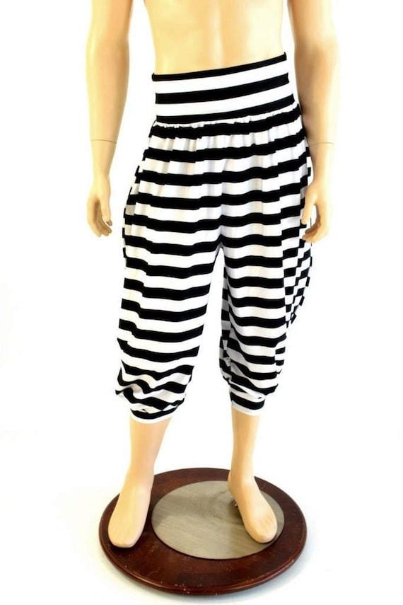 unisexe michael pantalon avec poches en noir et blanc etsy. Black Bedroom Furniture Sets. Home Design Ideas