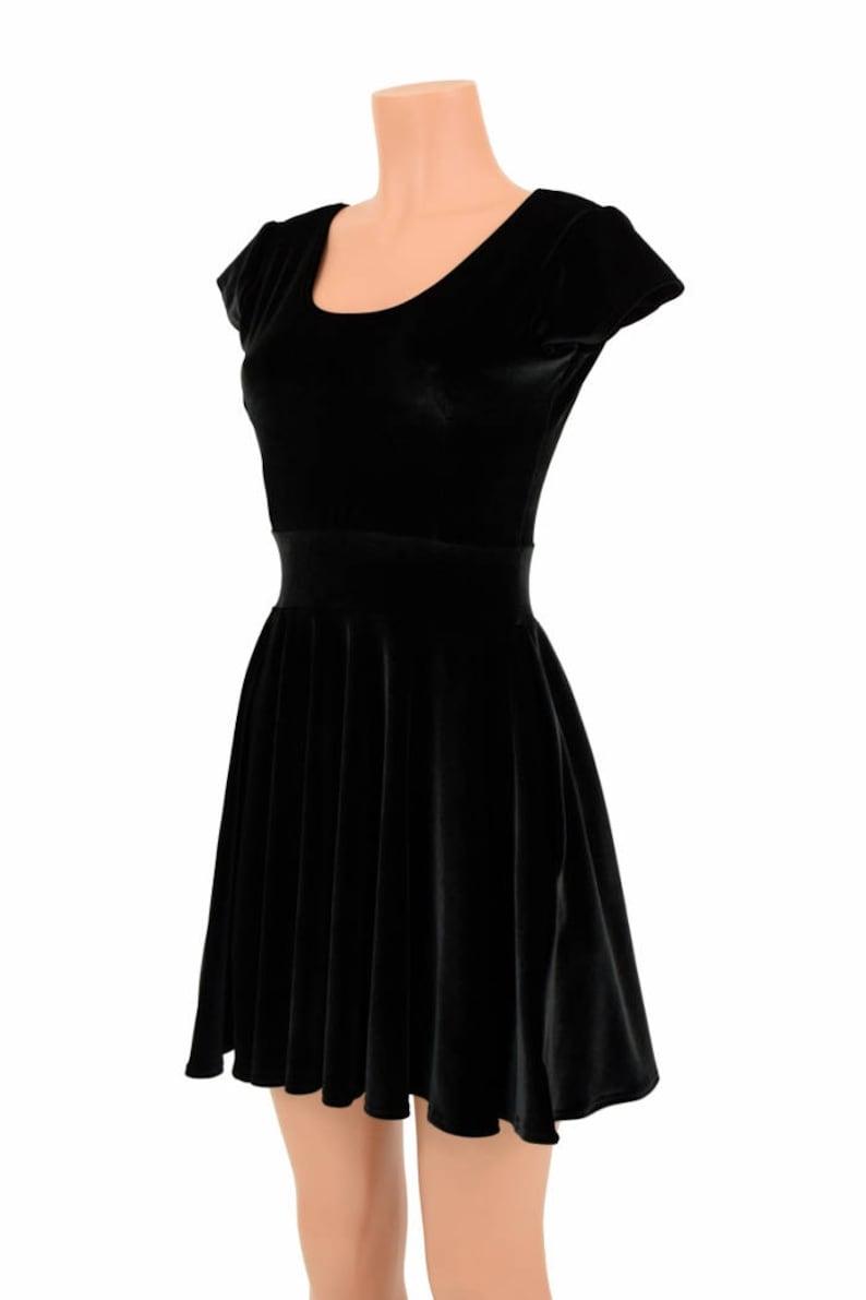 67bb15d815f Black Stretch Velvet Cap Sleeve Skater Dress Fit   Flare