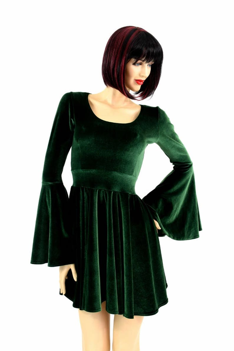 26e136b717a Forest Green Velvet Gypsy Sleeve Skater Dress with Scoop