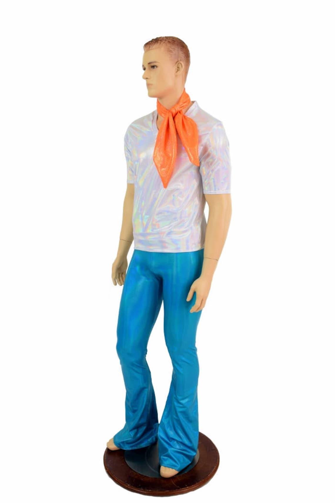 60s – 70s Mens Bell Bottom Jeans, Flares, Disco Pants 70s Super Sleuth Set Mens Flashbulb Holographic V Neck Short Sleeve Top & Peacock Blue Bootcut Pants w/Orange Sparkly Jewel Ascot 154783 $110.00 AT vintagedancer.com