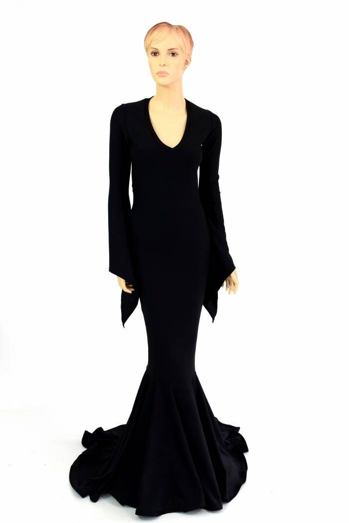 Black Zen Soft Knit Morticia V Neck Gown With Long Pixie Etsy