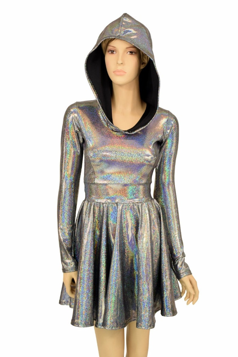 dd5b4f8df3a Silver Holographic Long Sleeve Fit and Flare Hoodie Skater