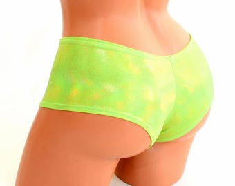 Ultra Cheeky Booty Shorts in Lime Holographic - 154320