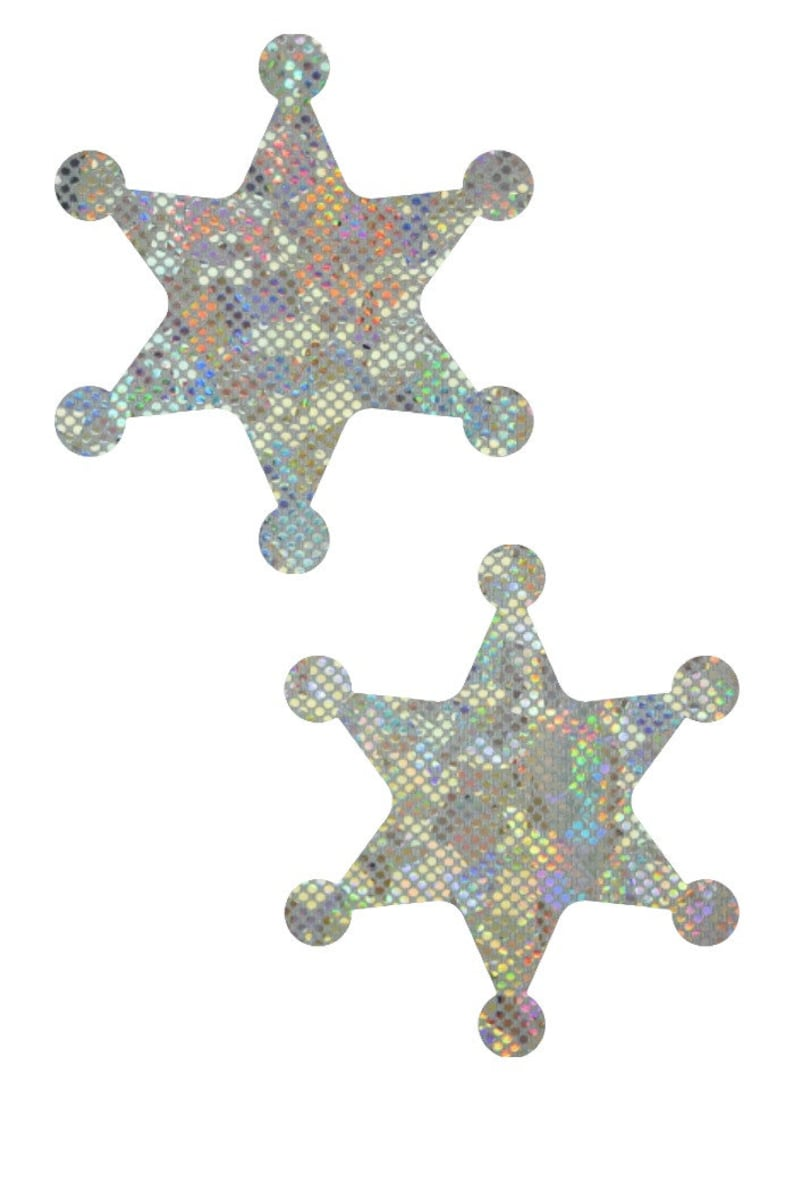 Frostbite Shattered Glass Sheriff Stars Pasties Body Stickers Cowgirl Cowboy Rave Captain Festival Officer Holographic