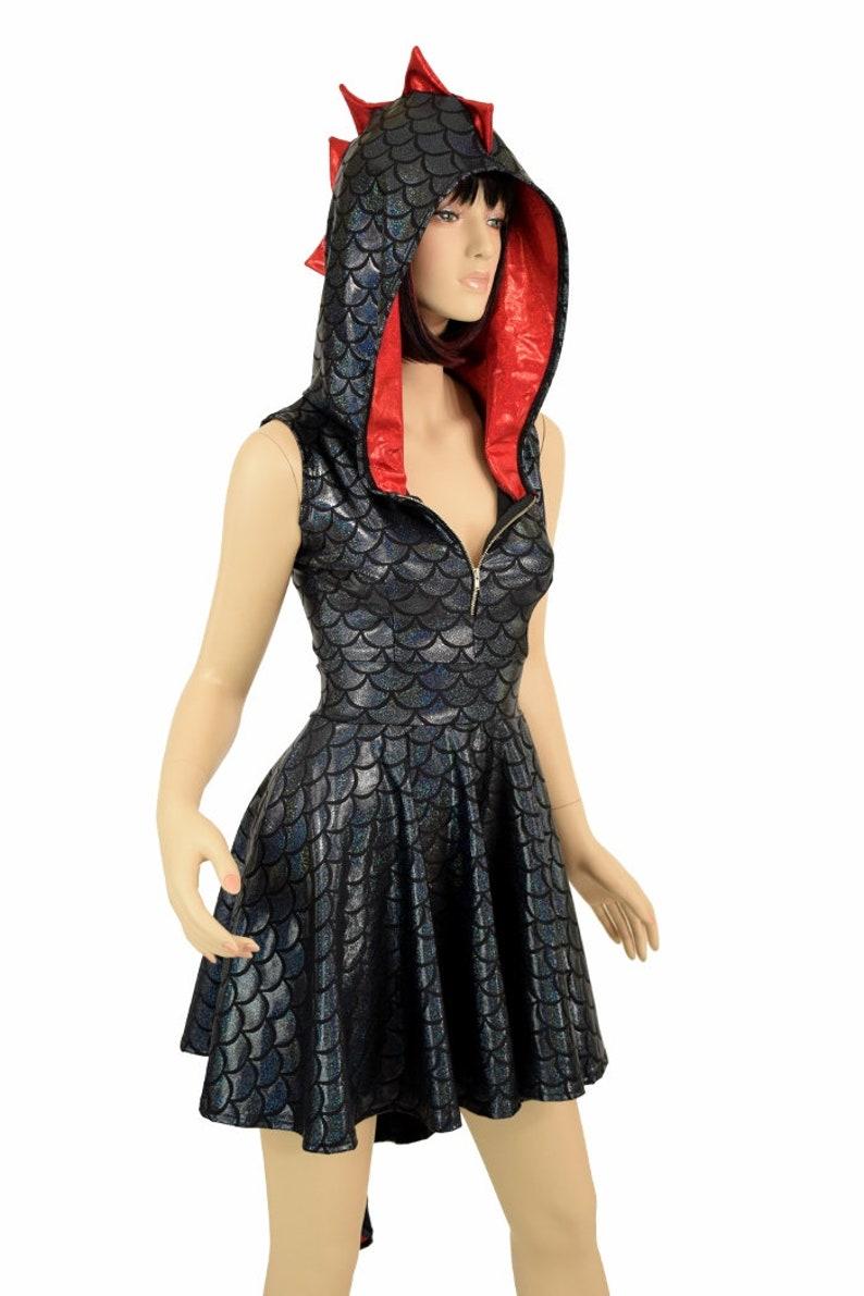 5e4bc814 Black Dragon Scale Sleeveless Zipper Hoodie Skater Dress with | Etsy