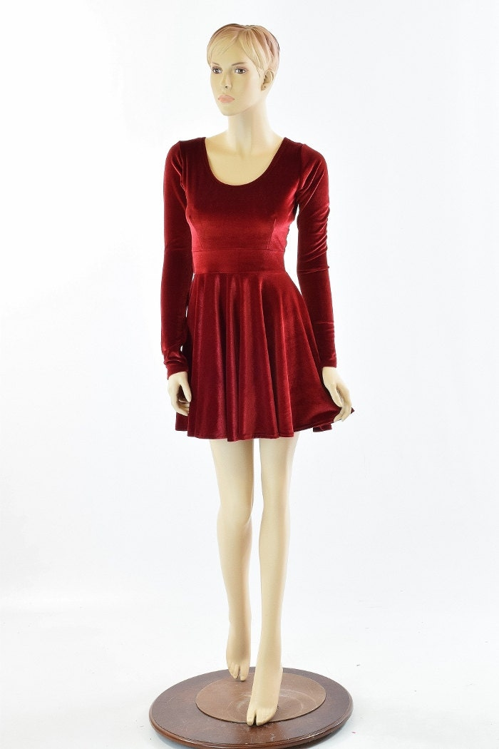 Red Velvet Long Sleeve Fit And Flare Skater Dress 151866