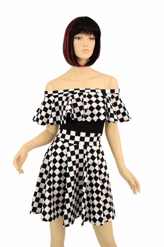 Black   White Checkered Print Off Shoulder Skater Dress with  68a50c321