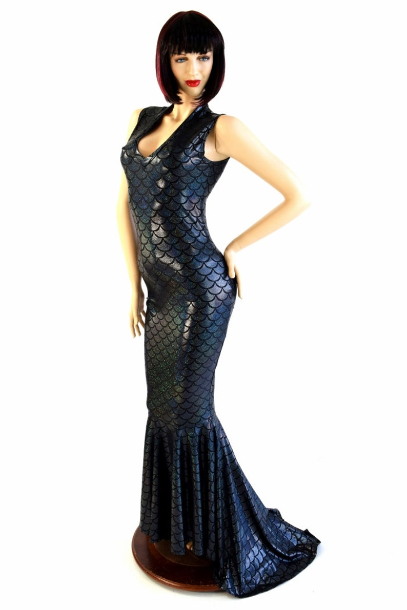 d5e470206a8 Black Dragon Scale Deep V-Neck Sleeveless Spandex Gown with