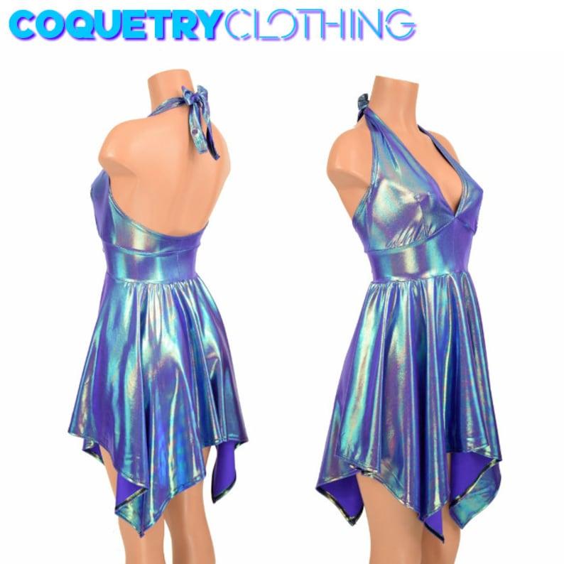 Tink Pixie Handkerchief Hemline Halter Dress in Moonstone Metallic Iridescent fairy faerie 155199