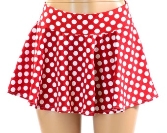 Red & White Polka Dot Print Circle Cut Mini Skirt   151135