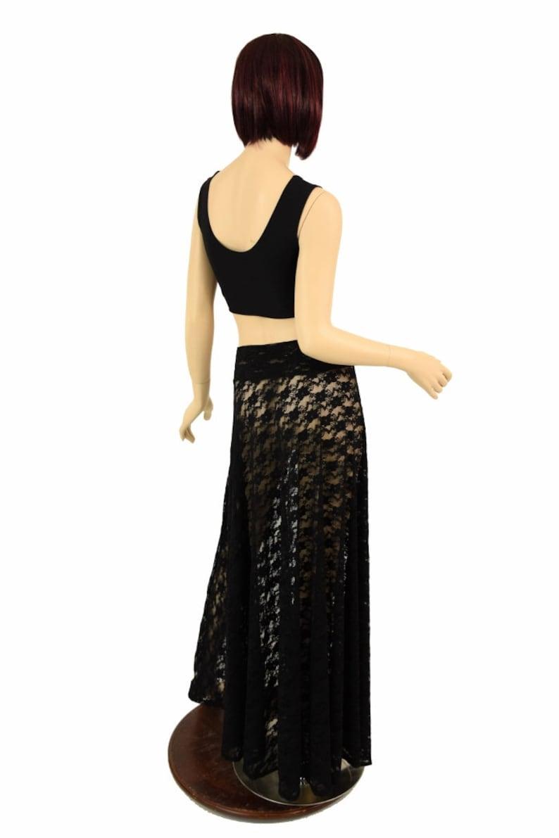 Black Lace Long Maxi Skirt Sheer See Through Transparent 155208