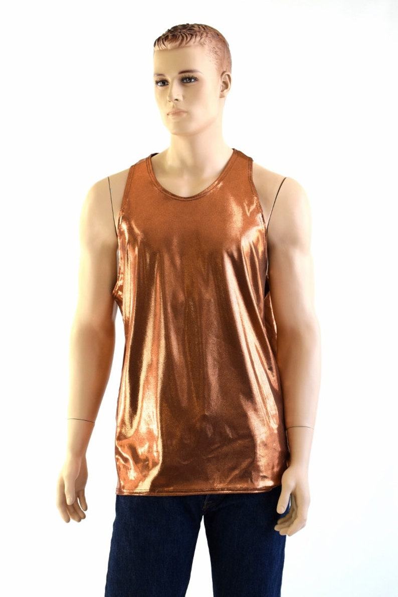 06beba386 Mens Copper Metallic Lycra Spandex Muscle Shirt Mens Rave or | Etsy