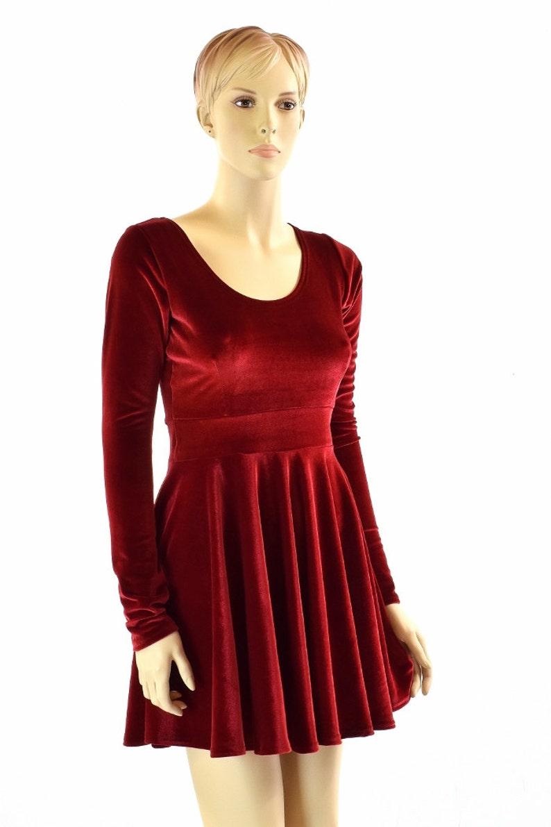 1b626124cae Red Velvet Long Sleeve Fit and Flare Skater Dress 151866