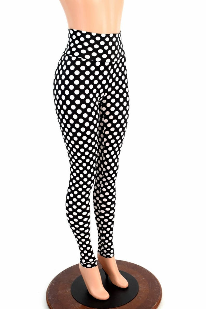 77d19221b5 Black & White Polka Dot Retro Pinup High Waist Lycra Spandex Leggings  Costume Run Yoga 154723