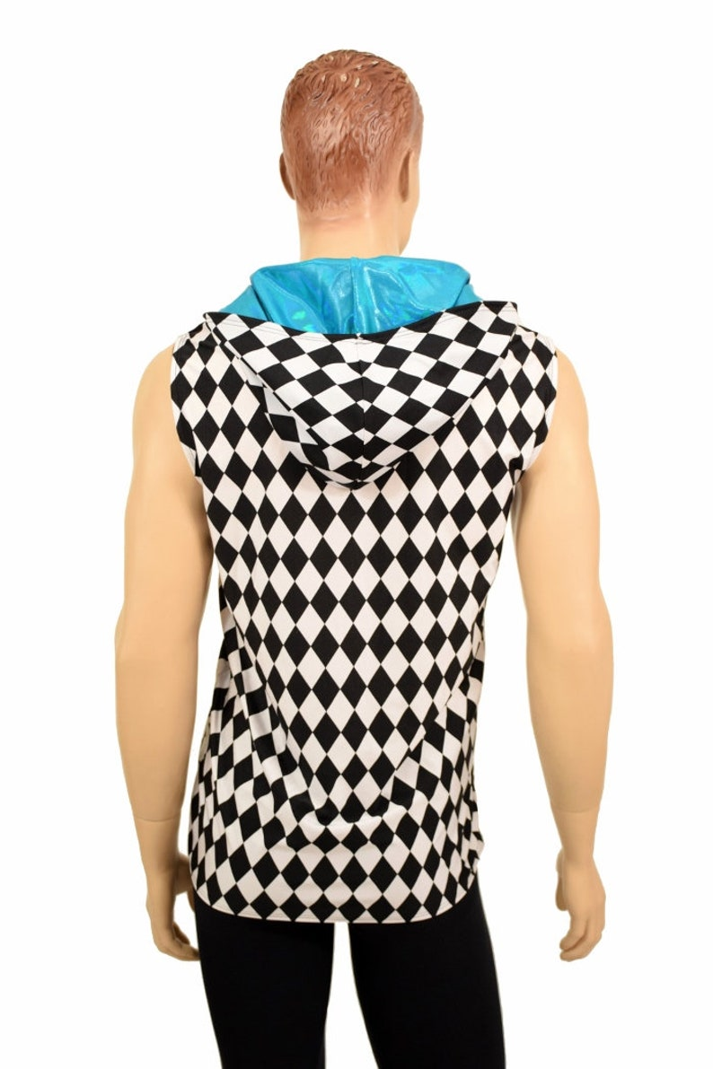 Mens UV Glow Black and White Diamond Print Print Sleeveless Hoodie Shirt with Peacock Blue Hood Lining 155550