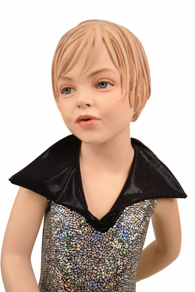Kids Bootcut Catsuit with Back Zipper and Disco Collar Silver on Black Shattered Glass with Black Mystique Collar 156799