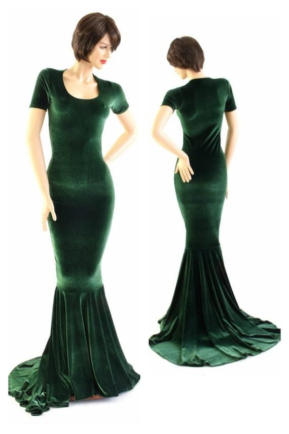 Forest Green Velvet Gown with Scoop Neckline Tee Length | Etsy