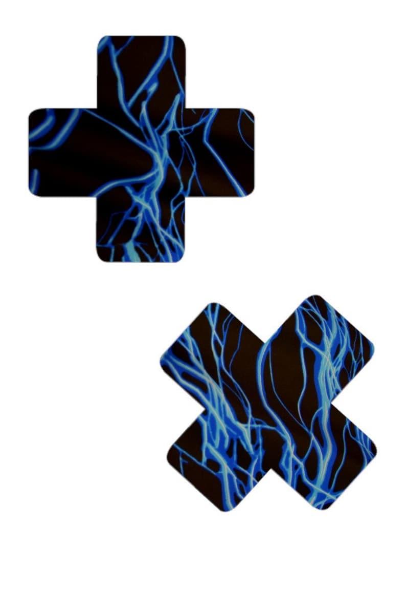 UV GLOW Blue Lightning Cross Pasties Body Stickers Neon Electric Shock