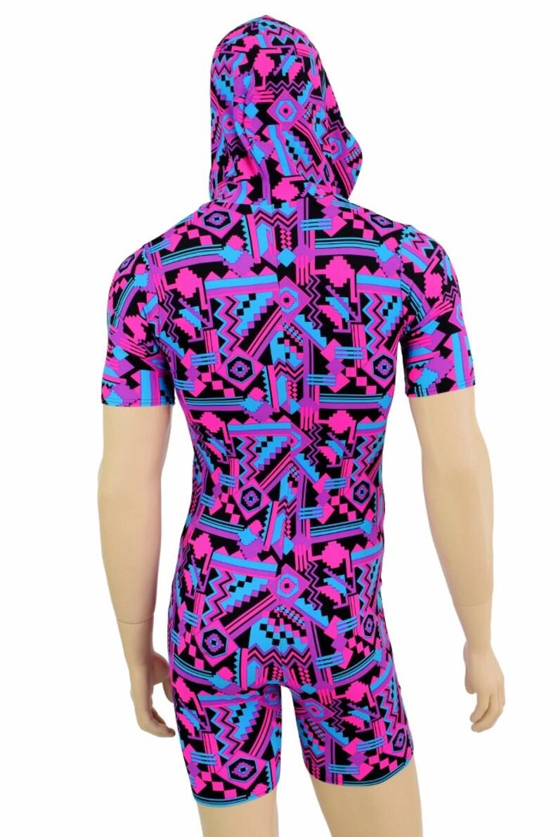 ca48bb1f2958 Mens UV Glow Pink   Black Aztec Print Tee Length Sleeve Hoodie