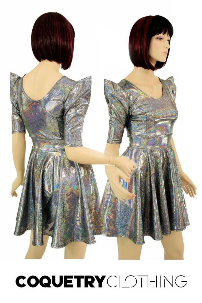 9310eecace5 Silver Holographic Sparkle Darted Sharp Shoulder Pointy Sleeve