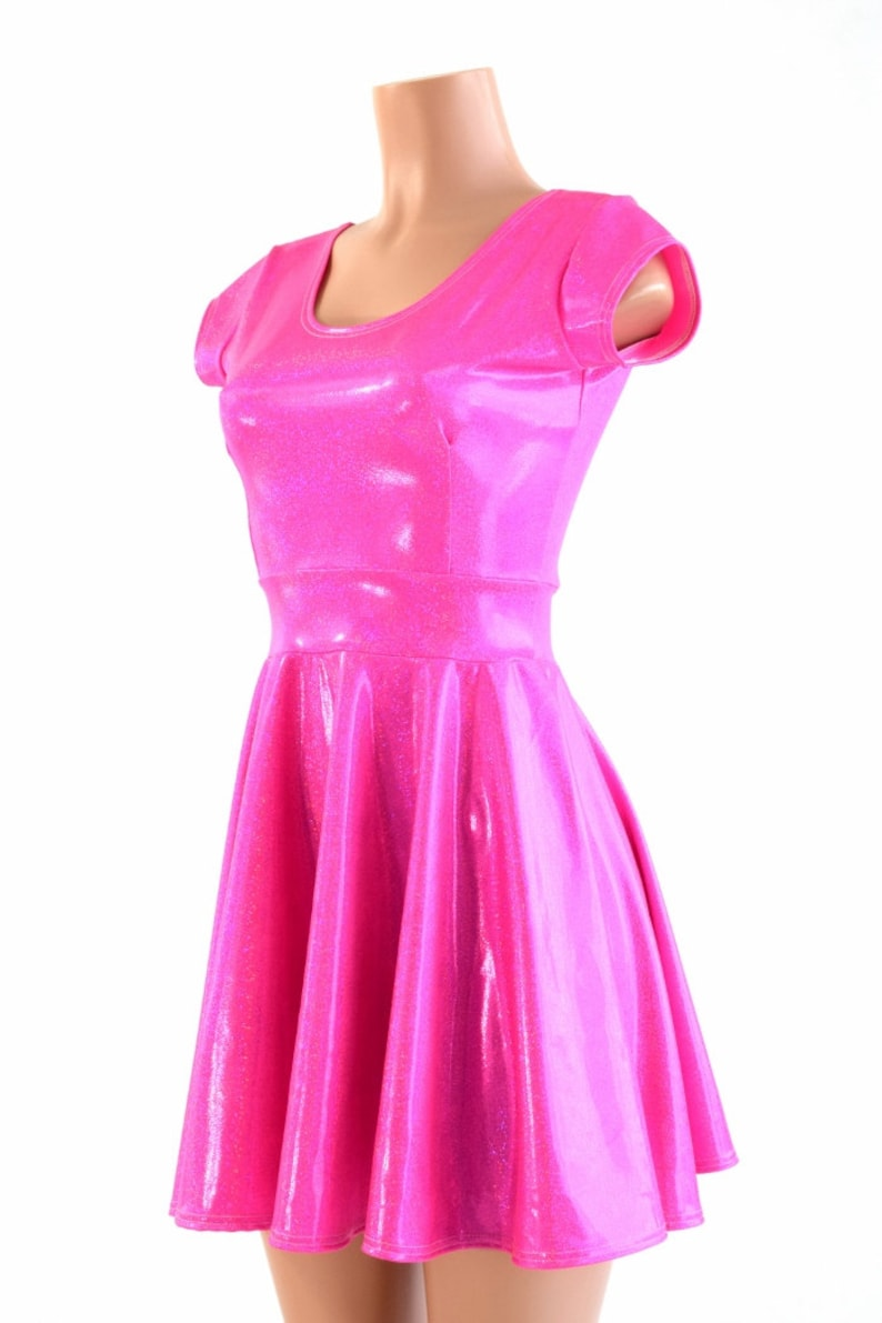 fc4b63fb8 Hot Bubble Gum Pink Metallic Holographic Scoop Neck Cap Sleeve Fit and  Flare Skater Skate Dress 150180