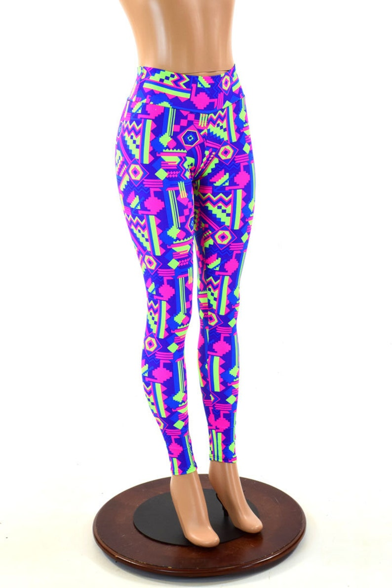 88121ed8e237b3 Neon Gemoetric Lime and Purple Aztec Print UV Glow High Waist | Etsy