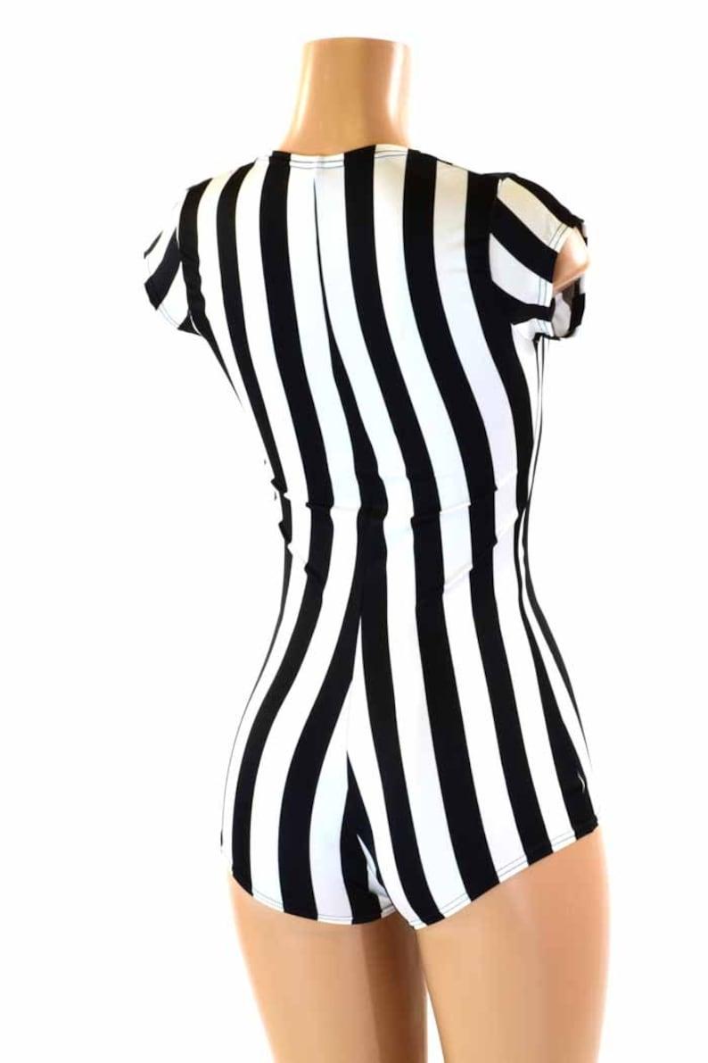 Black   White Stripe Referee Print Cap Sleeve Bodysuit Romper  98bb3aa36