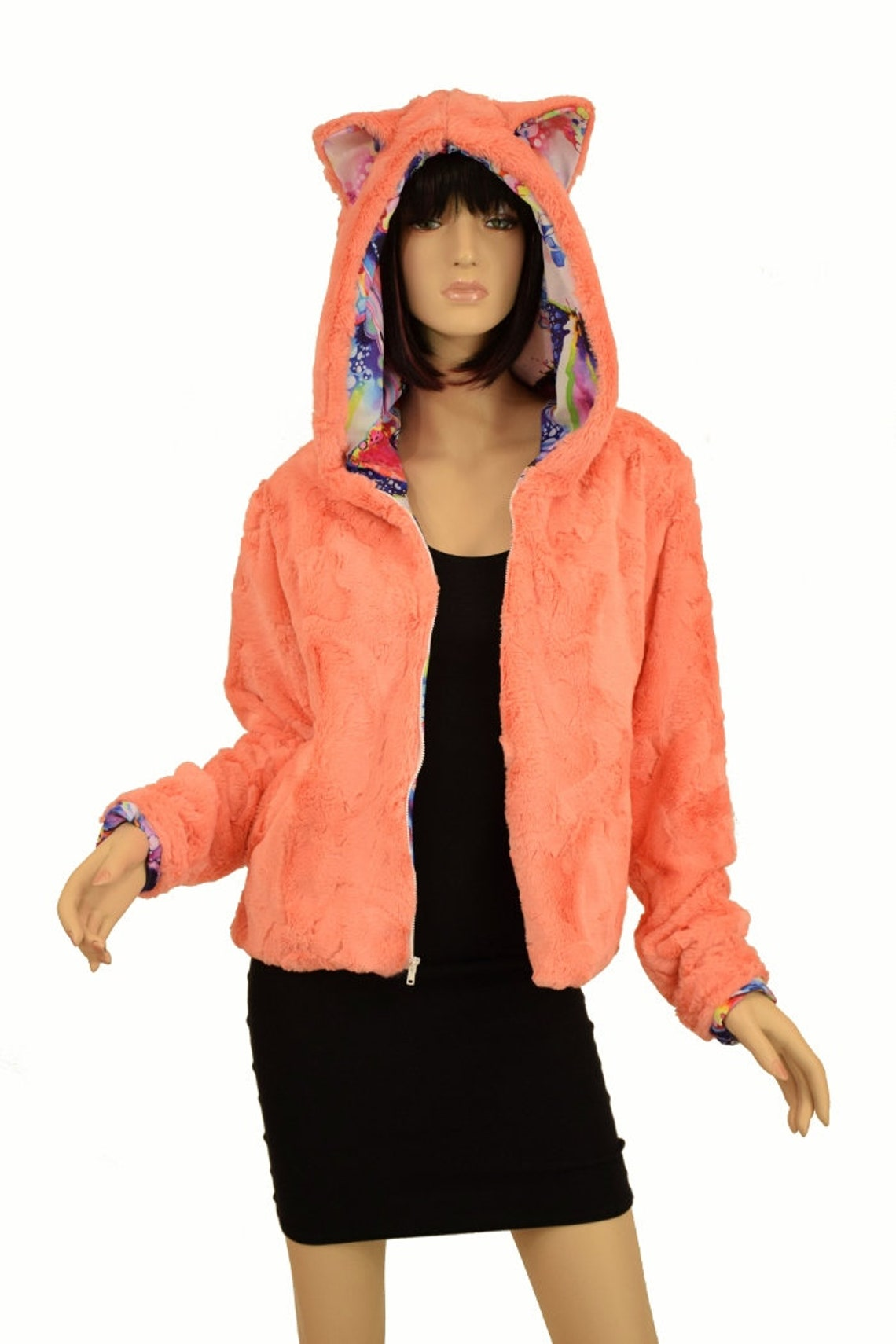 Zipper Front Short Jacket With Kitty Ears In Papaya Minky Faux Fur Dreamscape Lining And Pockets 156624