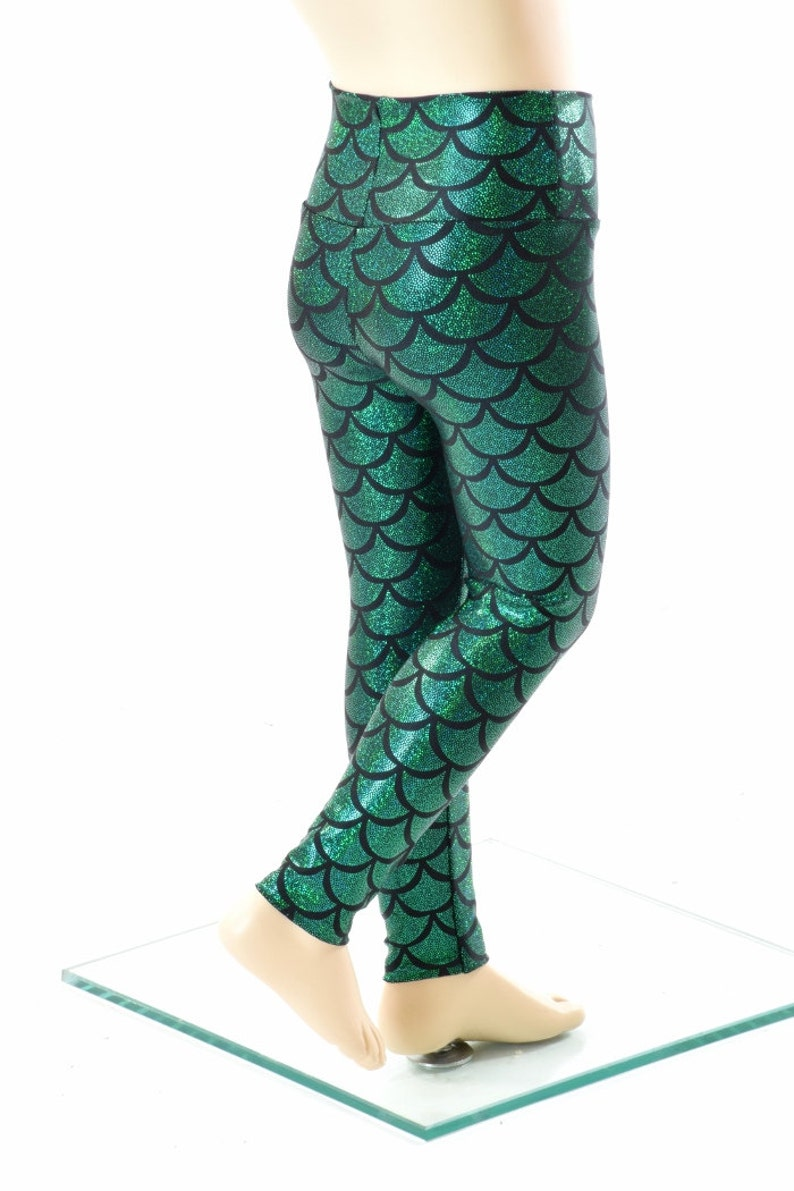 Kids Emerald Green Mermaid Scale Leggings     152067