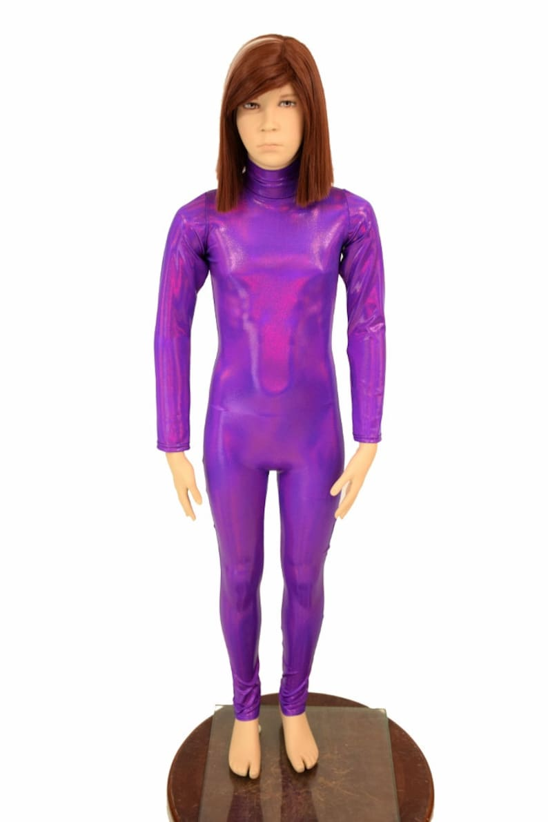 Kids Grape Purple Holographic Turtleneck Long Sleeve Back Zipper Catsuit Shimmery Metallic Sizes 2T 3T 4T and 5-12 155973