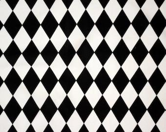UV Black & White Diamond  Four Way Stretch Spandex Fabric (By the Yard)
