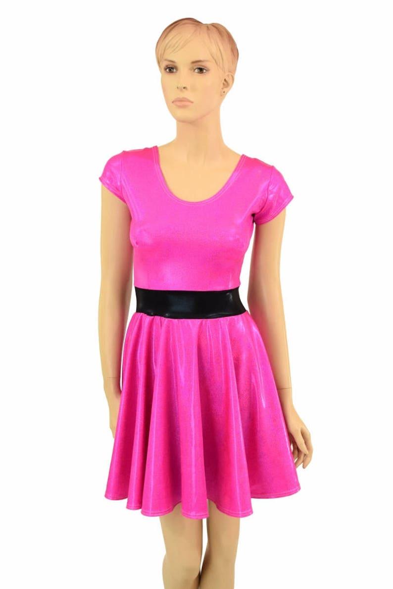87688a20 Pink Sparkly Jewel Blossom Cap Sleeve Skater Dress | Etsy