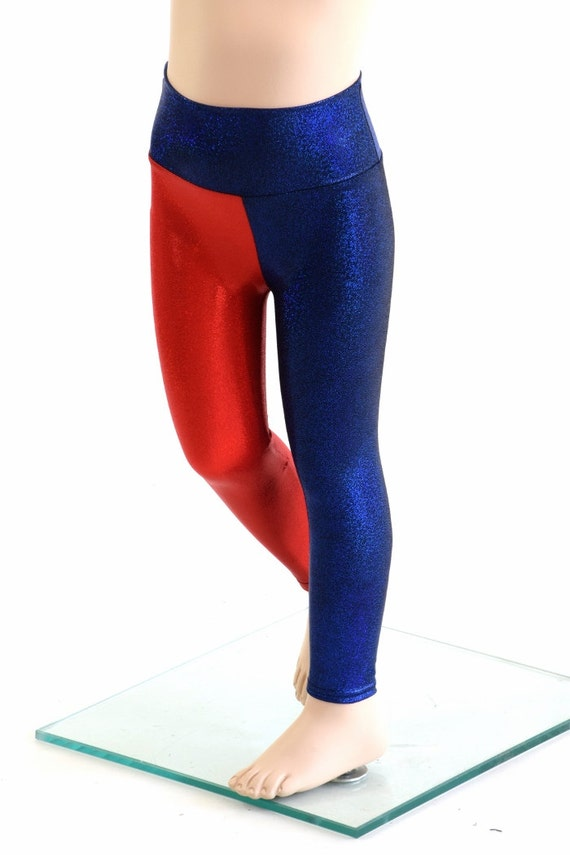 2024e85e841c8 Kids Harlequin Leggings Yoga Leggings Red & Blue Harley Quinn | Etsy
