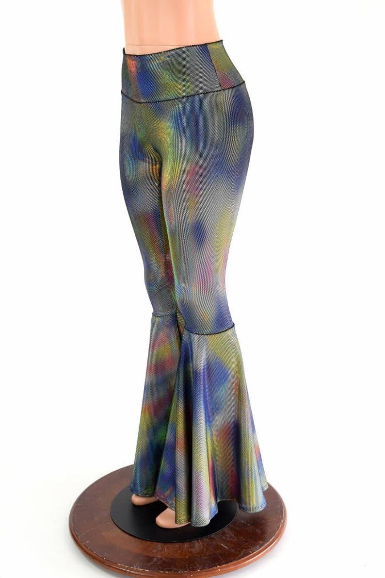 e8935e7738 Velvet Oil Spill Holographic Bell Bottom Flares Leggings with   Etsy