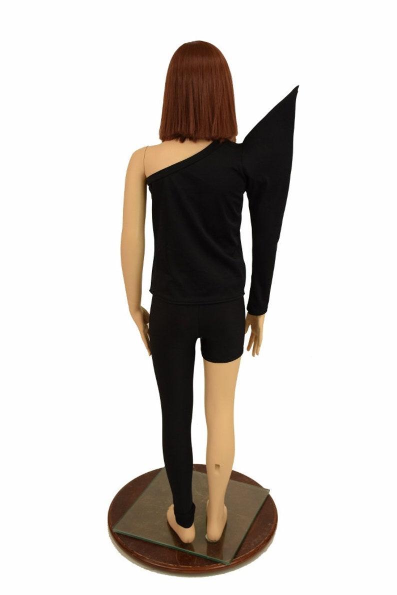 Kids Bowie Inspired 2PC Full Length Top /& Leggings Right Shoulder Mega Sharp Shoulder Long Sleeve Left Leg Full Length in Black Mystique
