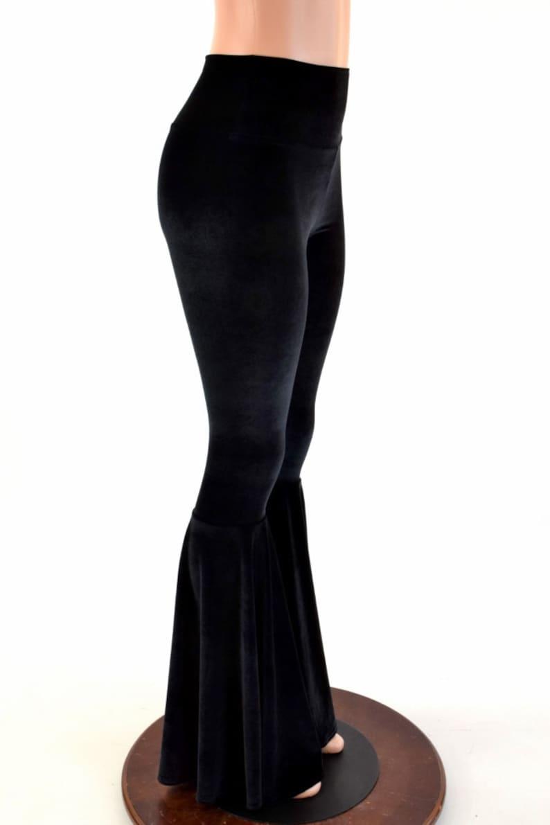 Black Velvet Bell Bottom Flares Leggings with High Waist /& Stretchy Spandex Fit  154122