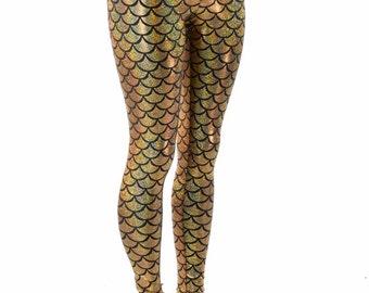 Gold Dragon Scale High Waist Mermaid Leggings  152259