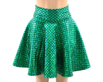 "Holographic Metallic Emerald Green Round Scale Mermaid Scale Sparkle 19"" Skater Skirt -E7816"