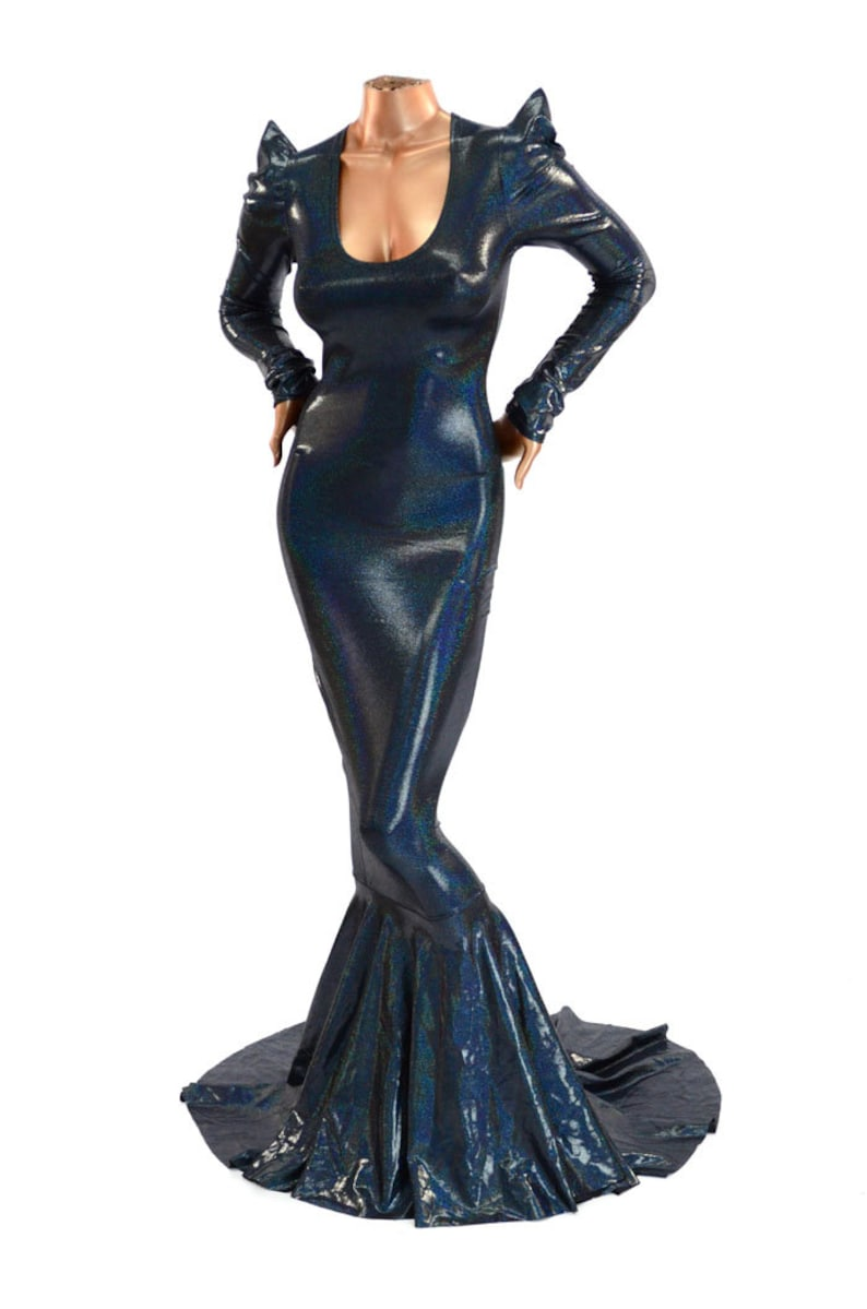 90888be6a4c Wicked Black Holographic Sharp Shoulder Gown with Scoop