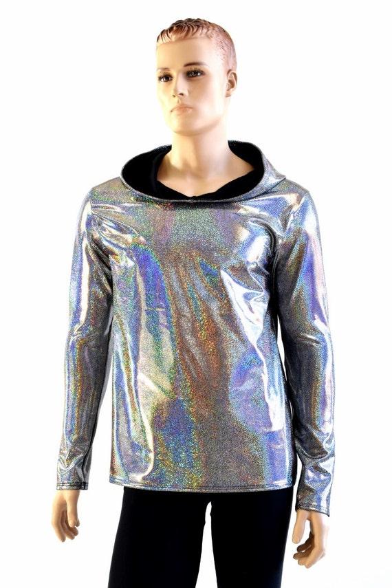 Mens Silver Holographic Long Sleeve Hoodie Shirt w/Black Zen Hood Liner Rave Space Festival Burning Man Clubwear 154026 6l9yb