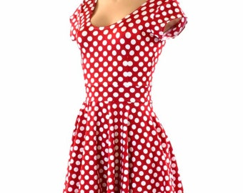 Red & White Pinup Polka Dot Scoop Neck Cap Sleeve Fit and Flare Skater Skater Minnie Dress Made to Order 151419