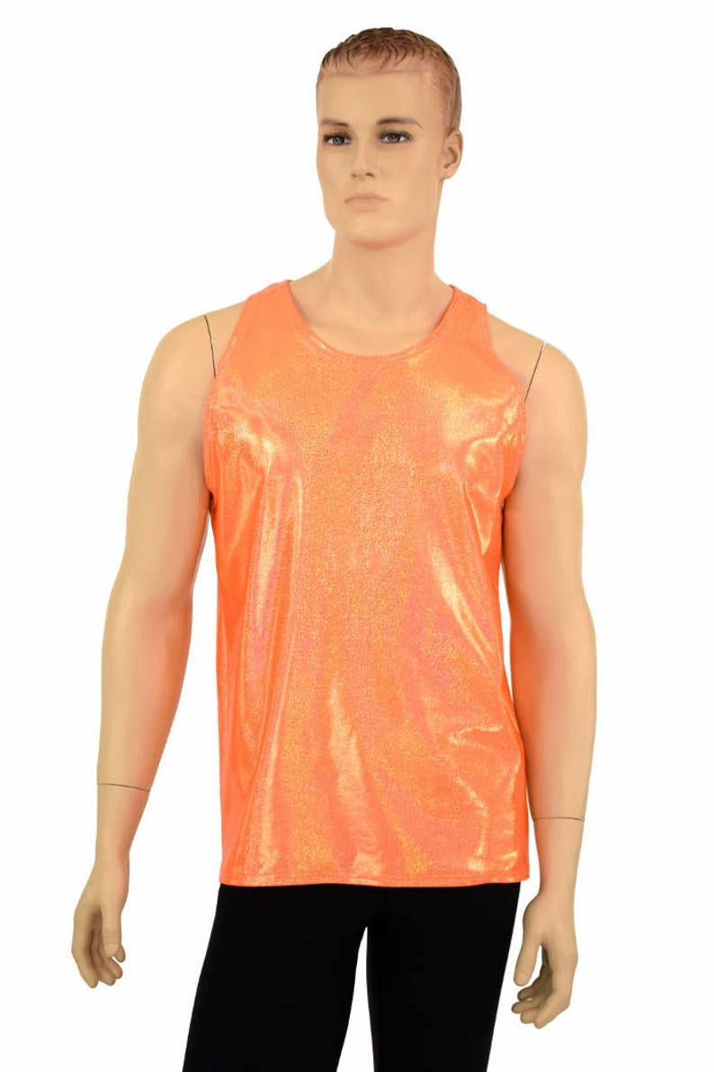 9275c8961 Mens Orange Sparkly Jewel Metallic Lycra Spandex Muscle Shirt | Etsy