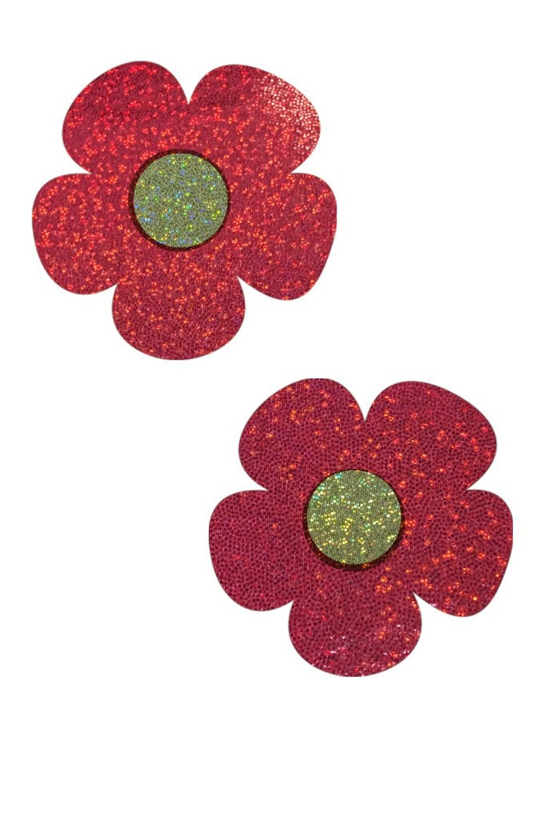 Red Sparkly Jewel Daisy Pasties with Gold Sparkly Jewel Disks Body Stickers Rave Festival
