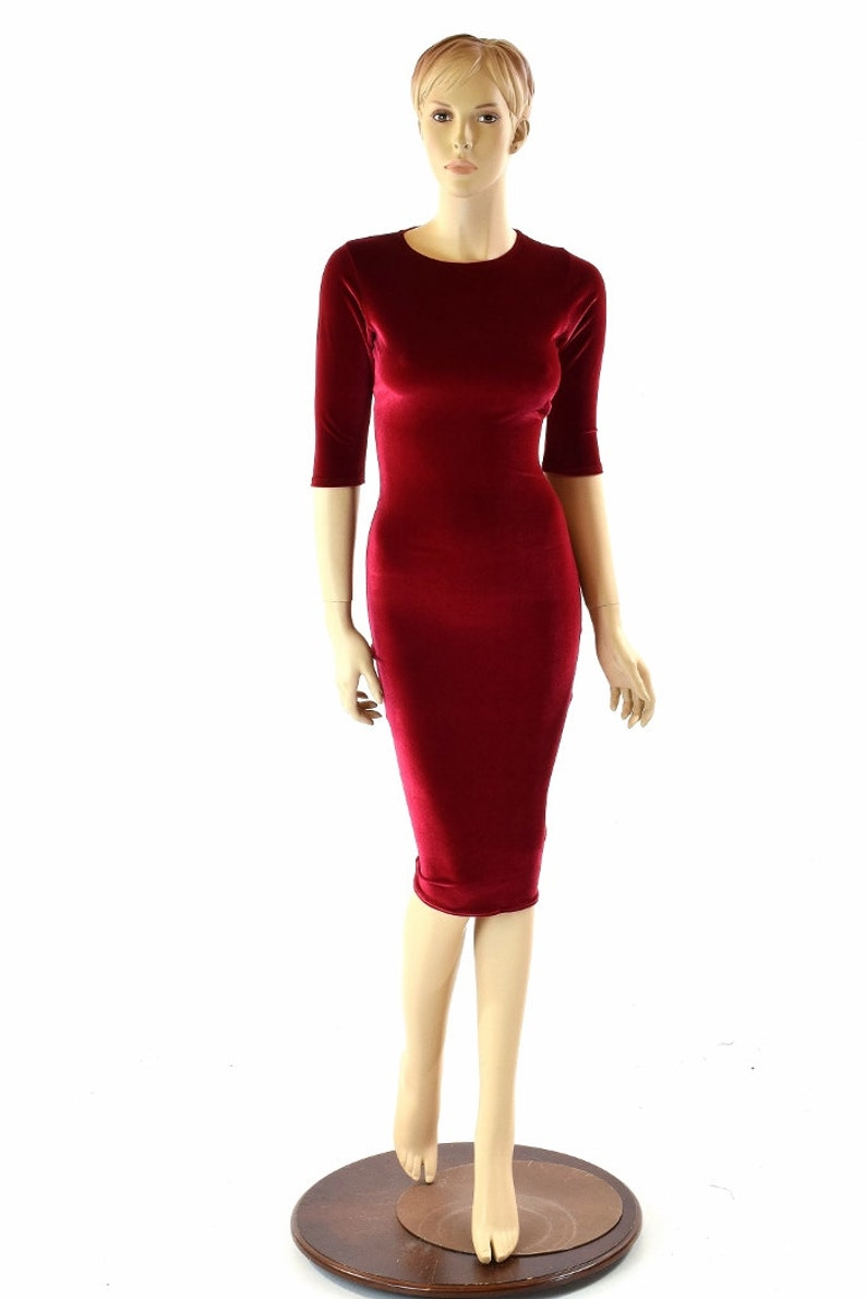 26a3074bb21 Red Stretch Velvet Half Sleeve Crew Neck Wiggle Dress 152113