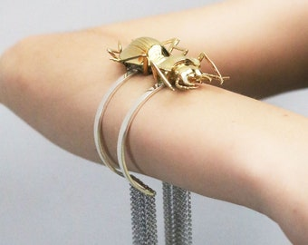 Up-Cycled Silver & Bronze Fringe Beetle Cuff
